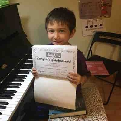One of my 2nd graders after completing his second method book.
