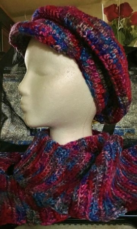 "Crocheted ""Newsboy"" cap"