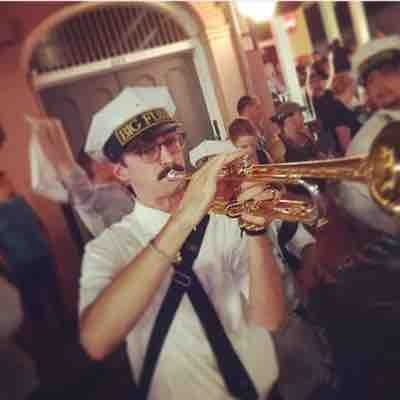 Me playing with one of the local brass bands in New Orleans on Bourbon St.