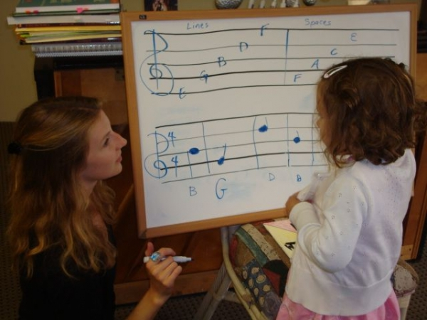 Teaching theory with a summer music camp student