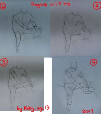 An hour and a half of progress by one of my students, Abby, age 13.