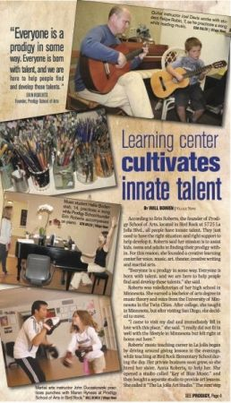 La Jolla News article featuring Erin as vocal instructor and owner at Prodigy School of Arts