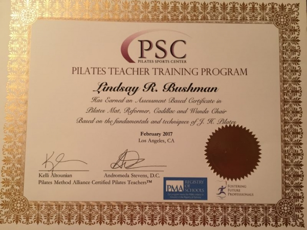 450 hour Pilates Certification