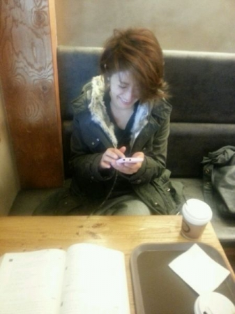Japanese lesson with my lovely student at a coffee shop. ^^