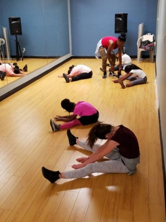 Gotta make sure students are stretching properly for flexibility!!! JazzFunk (hip-hop&jazz dance) Mondays @ 5:30 pm