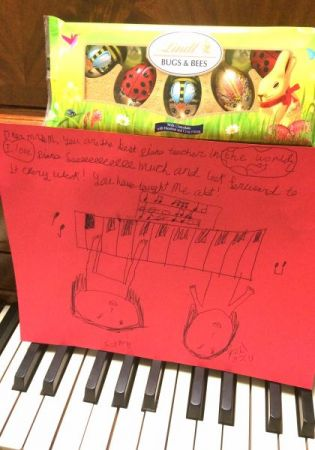 "My student's note reads: ""Dear Mrs. M, You are the best piano teacher in the world..."""