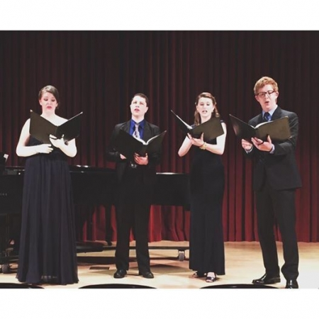 Collaborative Performance of Brahms Neue Liebeslieder for four voices and two pianos.
