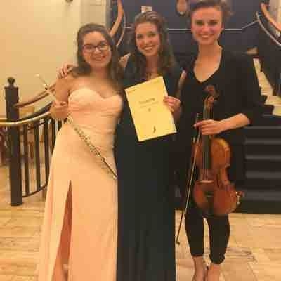 Post-performance picture of the Debussy trio for harp, viola, and flute