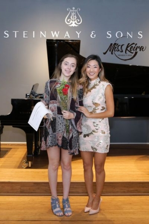 Miss Keira and voice student Alexandra, at The Steinway and Sons Piano Gallery of Beverly Hills