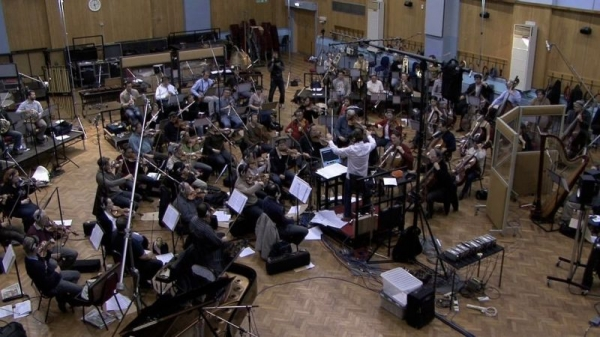 Conducting the London Symphony Orchestra at Abbey Road Studios, London in 2008.