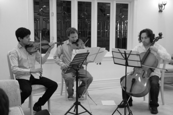 A string trio house concert in Studio City.