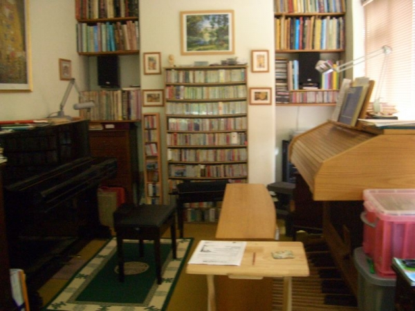Growing up surrounded by music, organ, piano, harpsichord, scores, books. My father's music room.