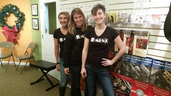The Double Bar Music family (L-R): Marcelle Gauvin, Kimber-lee Jacobsen, Kelsey Jacobsen