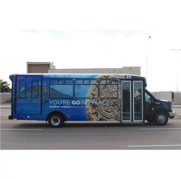 Bus wrap created in adobe illustrator and adobe photoshop.