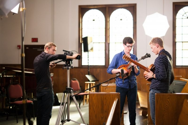 Guitarist Michael Moore and me shooting a music video for our duo record Each by Side.