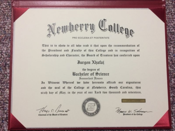Diploma from Newberry College