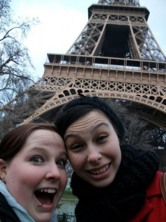 Having fun in front of the Eiffel Tower!