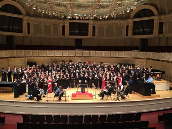 Singing on the Orchestra Hall stage in Chicago.