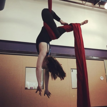 A student trying out a new move at our studio in Eagle River, Alaska