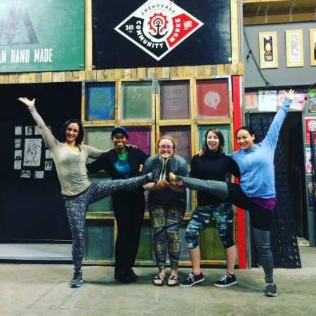 Students celebrating after a great class with new friends at our Anchorage studio in Alaska!