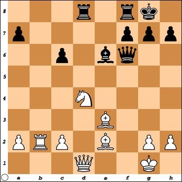 Versus Expert Philip Nutzman. Black is threatening c5, taking advantage of the pins along the d-file and a1-h8 diagonal. Can White escape?