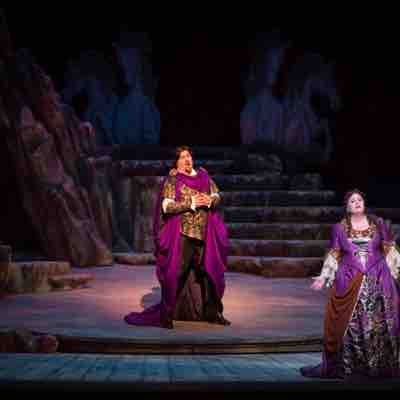 "Jeffrey Hartman as Bacchus in Palm Beach Opera's production of ""Ariadne auf Naxos"" with Amber Wagner"