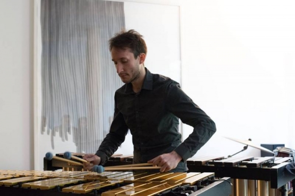Playing vibraphone at concert in Basel, Switzerland