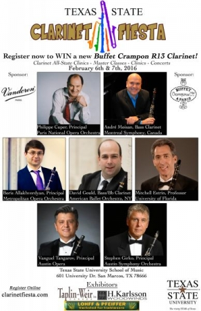 Created advertisement for the guest performances of several guest clarinet artists for the 2016 Clarinet Fiesta!