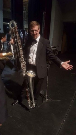 This is the Bb Contrabass clarinet, it is a wonderful instrument and every aspired clarinet player should play it!