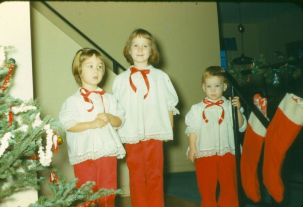 More outfits, Grandma had a Kenmore and mom at this point had a treadle. Christmas was always staged but special.