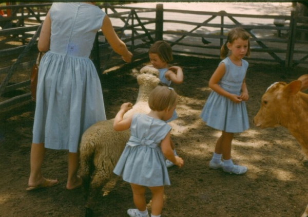 Petting Zoo. Oh, did I mention when there was extra fabric mom would make an outfit for herself too!
