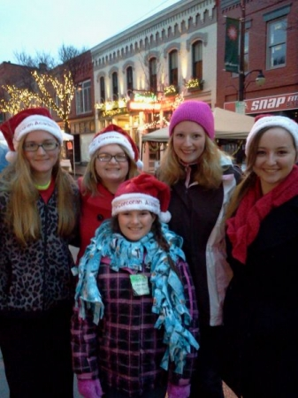 Some of the 14 Academy students who braved the cold to perform all night at the Corning Sparkle of Christmas