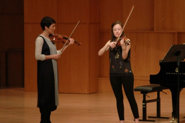 Performing for Anne Akiko Meyers in a master class at CU-Boulder in February 2016.