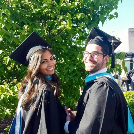 Photo of my girlfriend and I celebrating our Graduate school graduation! A special moment :)