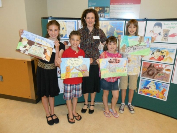 Sascha w/winning students in an art contest.  She had the most winners  (12 of them from Fine Art Starts).