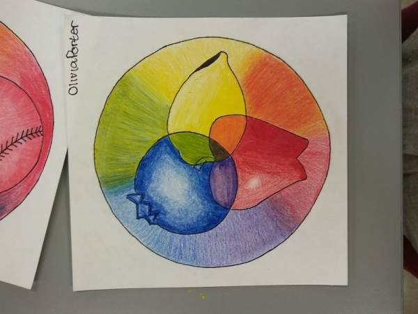Basic, creative color wheel by beginning student (age 14).