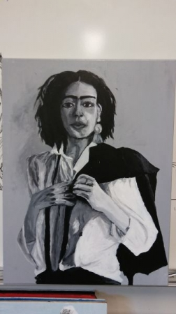 Advancing student's acrylic on canvas portrait, focusing on shading (value), and proportions.