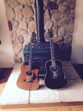 My travel guitar for lessons on the left.
