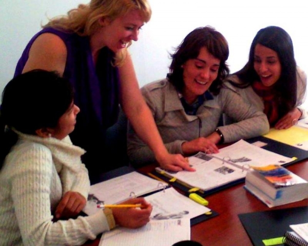 Teaching my English business conversation students in Peru