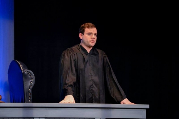 "As the Judge in ""Last Days of Judas Iscariot"""