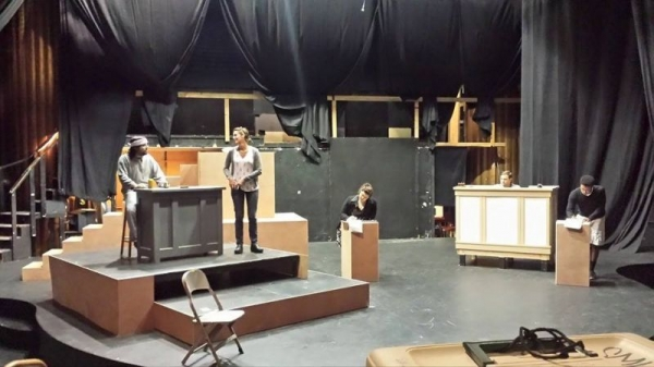 "getting the set ready for ""Last Days of Judas Iscariot"""