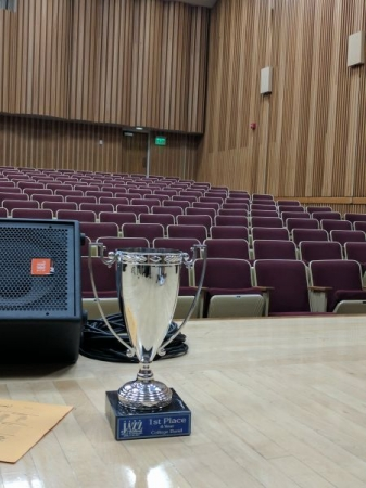 I played second trombone in the Sac State One O'Clock Band, this is our first place trophy from the University Nevada, Reno Jazz festival