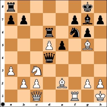 I was up an exchange against Class A player, Adam Chrisney, but in this position he threatens Be3 and Nb5. Black to play.