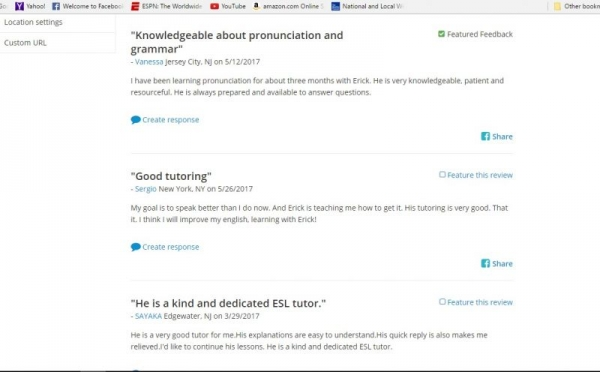 Some reviews from another tutoring website I am on.