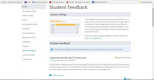 More student feedback from another tutoring website I am on.