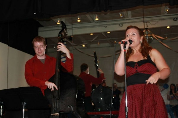 On the bandstand at the jazz gig!