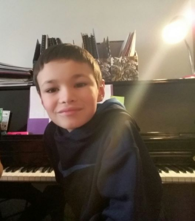 A hard-working piano student of mine