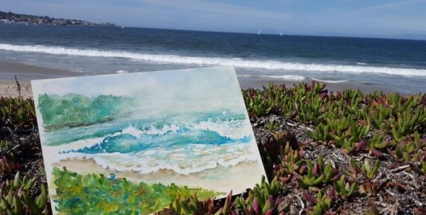"Painting of the beach at Monterey Bay, CA. Watch Jane paint this on her videos on YouTube at ""WatchingPaintDryLLC."""