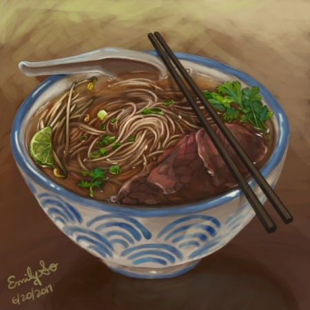Pho noodle soup illustration
