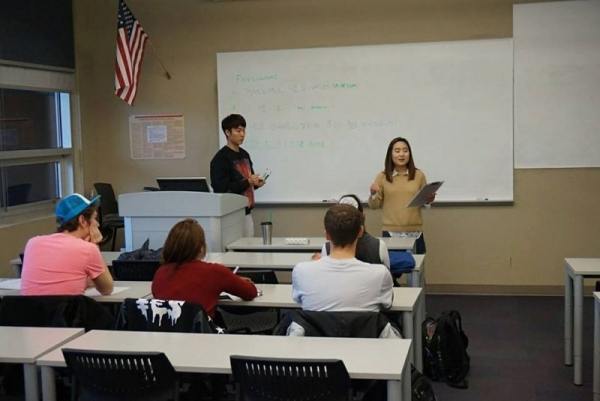 Teaching the Korean club at Northern Arizona University